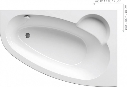 Акриловая ванна Ravak Asymmetric 150 правосторонняя C451000000