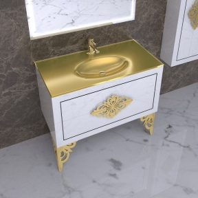 Напольная тумба с умывальником Элис Marsan Christine 1000 белая/золото