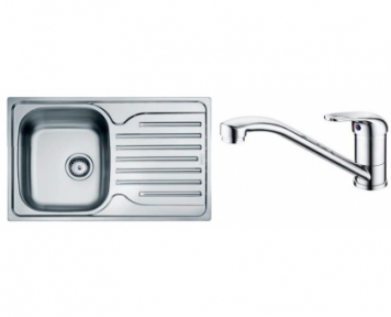 Кухонная мойка Franke Polar PXL 611-78 декор + смеситель Narew 35 Plus + сифон 101.0444.131