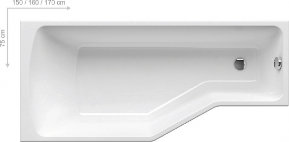 Акриловая ванна Ravak BeHappy 160 x 75 правосторонняя C161000000