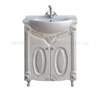 Тумба с умывальником Атолл Napoleon 65 белый жемчуг+серебро