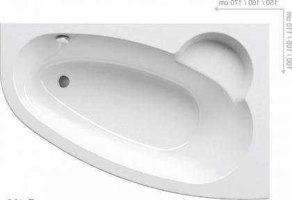 Акриловая ванна Ravak Asymmetric 160 правосторонняя C471000000